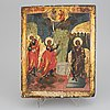 A russian icon depicting the annunciation, around the year 1800.