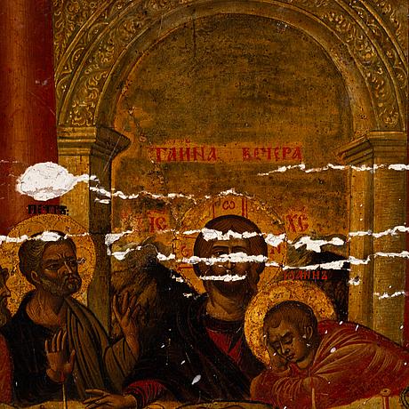Icon, tempera on panel, greece, 18th century.