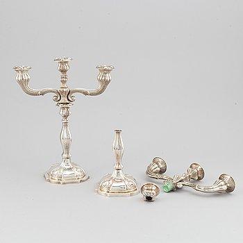 A pair of rococo revival silver candelabras, Vienna 1856.