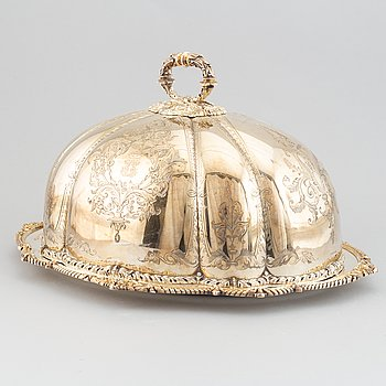 A silver plated cover by Martin, Hall & Co, Sheffield, and dish.