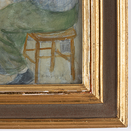 Birger ljungquist, watercolour, signed and dated 1947.