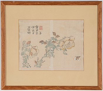 Three Chinese colour woodblock prints from album, early 20th century.
