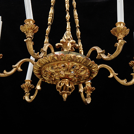 A gilt and bronzed hanging lamp, 19th century.