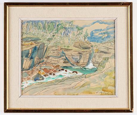 Gideon börje, watercolour, signed.