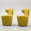 A pair of 'mini papilio' swivel lounge chairs by naoto fukasawa for b&b italia., designed 2012.