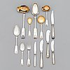 A 69-piece set of silver cutlery with seashell decoration, finnish hallmarks, mostly from the 1960s-1980s.