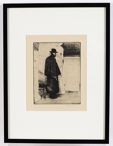 Axel fridell, etching, 1917, signed in pencil.