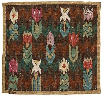 "199. Märta Måås-Fjetterström, a textile, ""Täppan"", tapestry weave, ca 49-50,5 x 53 cm, signed AB MMF."