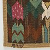 "Märta måås-fjetterström, a textile, ""täppan"", tapestry weave, ca 49-50,5 x 53 cm, signed ab mmf."