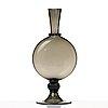 """Vittorio zecchin, a smoke coloured """"soffiato"""" glass vase, model 1464, venini, murano, italy 1920's."""