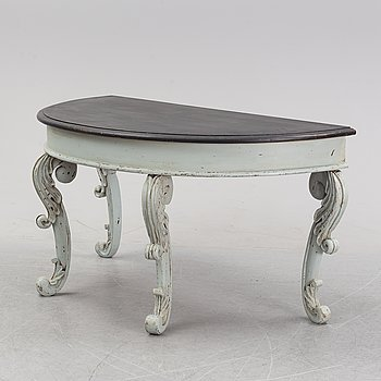 A painted table with carved legs, Härjedalen, second half of the 19th Century.
