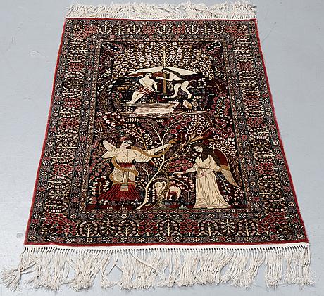 A rug, chinese silk, ca ca 125 x 77 cm.
