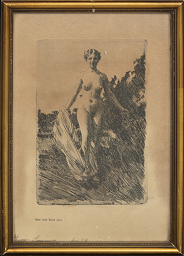 Anders zorn, an etching.