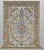 A carpet, figural keshan part silk, ca 298 x 204 cm.