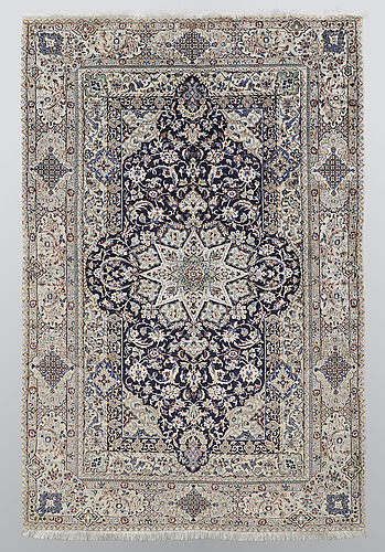 A rug, nain part silk so called 6 laa, 195 x 130 cm.