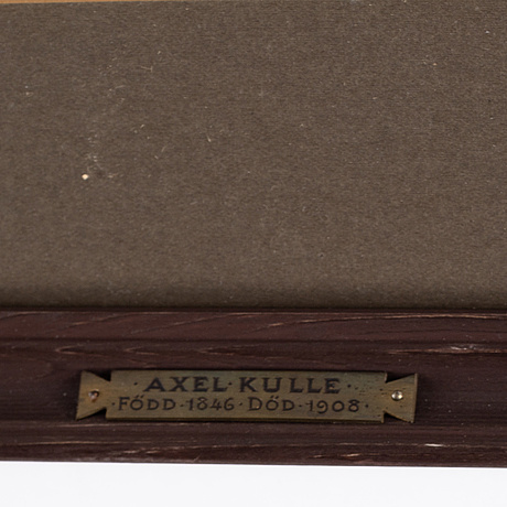 Axel kulle, pencil drawing, signed axel kulle and dated 1885.