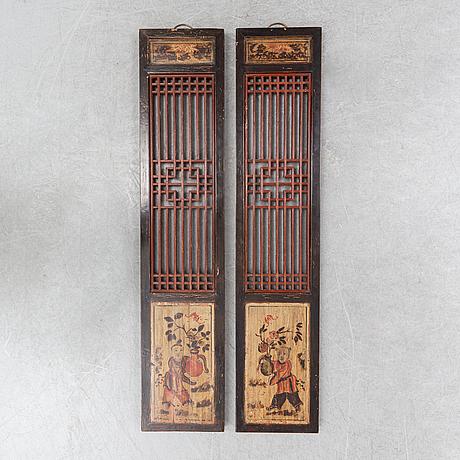 Väggpaneler, 2 st, kina, tidigt 1900-tal.
