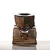 Bertil vallien, a sand cast glass sculpture of a boat on stand, kosta boda, sweden.