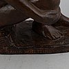 David wretling, sculpture, bronze, signed.