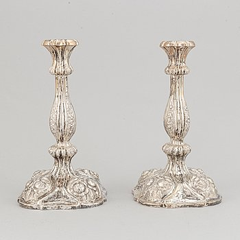 A pair of Rococo Revival silver candlesticks, Vienna 1856.