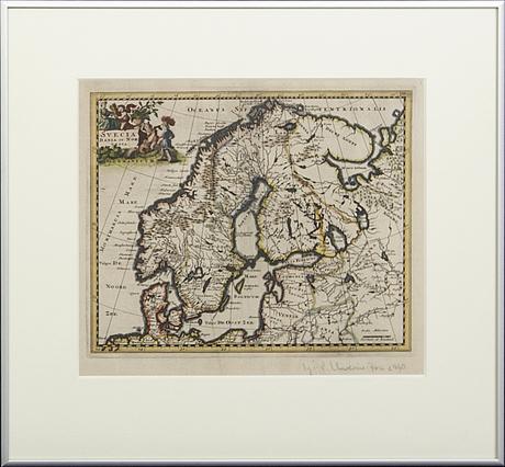 """A 17th century map, """"svecia dania et norvegia""""."""