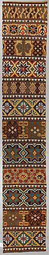 A bench cushion, flat weave, ca 326 x 56,5 cm, scania (sweden) 19th century.