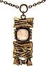 Penttii sarpaneva halsband brons with rose-quartz, total length approx 70 cm, pendant approx 7 x 3 cm.