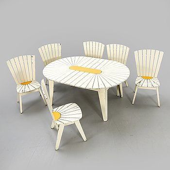 Garden furniture, 7 parts, second half of the 20th century.