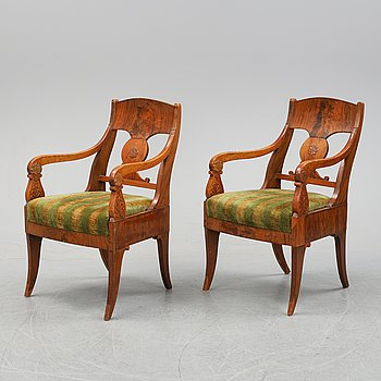 A pair of Russian Empire armchairs, early 19th Century.