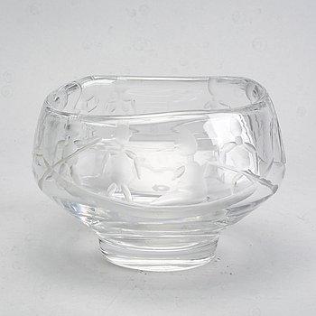 Erik Höglund, skål, glas med slipad dekor, Boda.