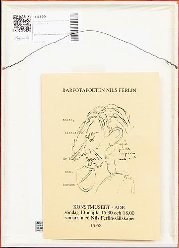 Nils ferlin, maskinskriven dikt med teckningar av svän grandin.