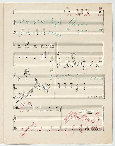 "Gösta adrian-nilsson, portfolio with three scores,  ""dialog mellan piano och cello"", opus 2, ""sång och piano"", opus 3."