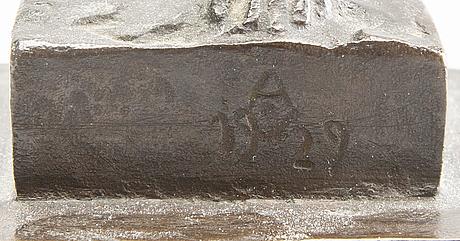Anders olson, brons, signerad och daterad 1929.