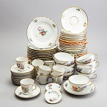 "Coffee set, about 60 pieces, porcelain, ""Saxon Flower"", Royal Danish."