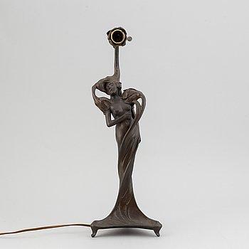 Alf Wallander, an Art Nouveau patinated bronze table lamp, AB Förenade konstgjuterierna, Stockholm 1898-1900.