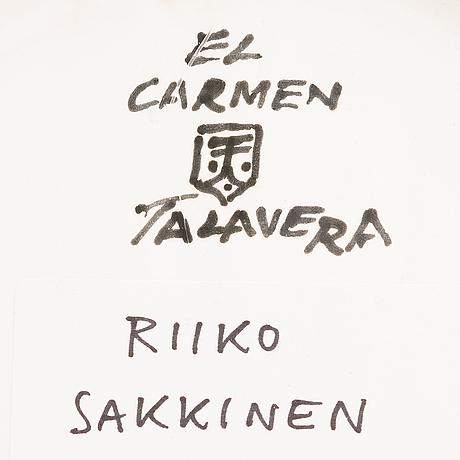 Riiko sakkinen, handmålad talavera-keramik, signerad.