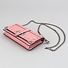 """A prada leather mini bag """" cahier"""" with metal details and rivets. marked """"prada milano"""". authenticity card included."""