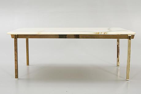 Coffee table, brass, onyx, bergbom & co, alf svensson & ynvar sandström, 1960s.