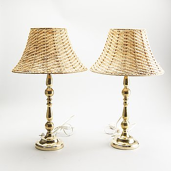 Table lamps, a pair, brass, Sweden, 1970s.