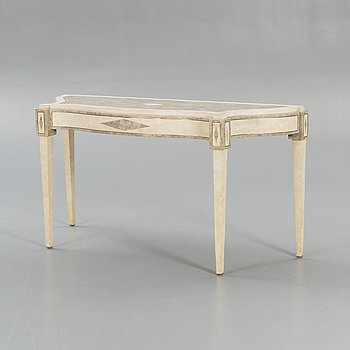 A travertin veneered side table later part of the 20th century.