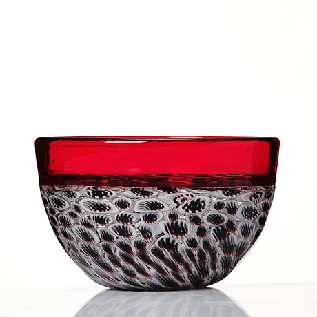 "Riccardo licata, a red glass ""lattimo and black wheel murrine"" bowl, model 3613, venini, murano, italy, probably 1950's."