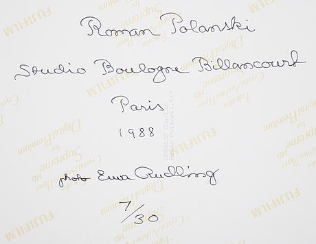 Ewa rudling, photograph of roman polanski, signed.