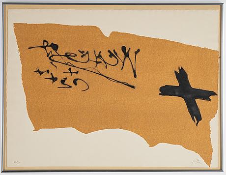 Antoni tàpies, carborundum and etching, signed and numbured 49/75.