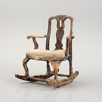 A rococo rocking chair, 18th Century.