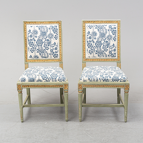 A gustavian style matched set of sofa, table, two armchairs, two chairs, 18th, 19th and 20th century.