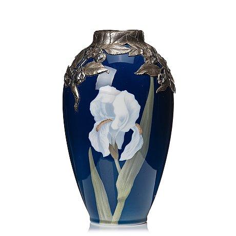 Anton michelsen, & royal copenhagen, a porcelain vase with sterling silver mouth, copenhagen 1910.