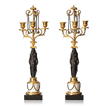 113. A pair of late Gustavian circa 1800 three-light candelabra, attributed to F L Rung.