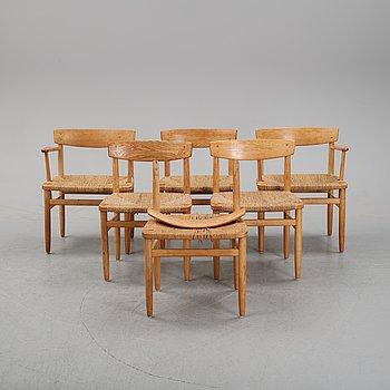 Børge Mogensen, five 'Öresund' oak chairs, Karl Andersson & Söner.