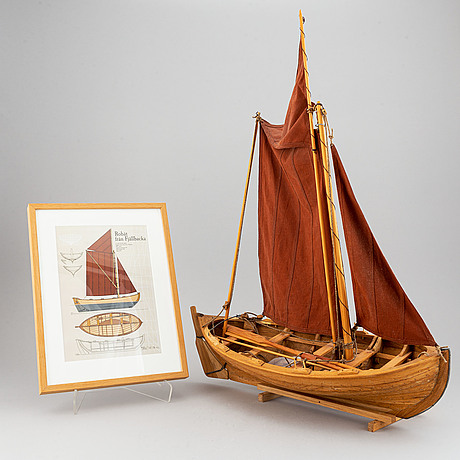 """A wooden boat modell of a swedish row boat from fjällbacka, signed """"peter schmidt 2009"""". offset print of  boat included."""