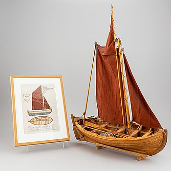 "A wooden boat modell of a swedish row boat from FJällbacka, signed ""Peter Schmidt 2009"". Offset print of  boat included."